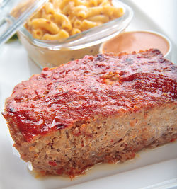 Meat loaf with macaroni and cheese.