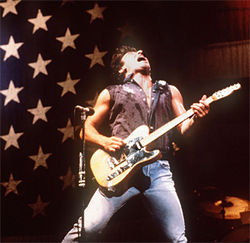 Bruce Springsteen grinds for Ronald Reagan and Barack Obama.