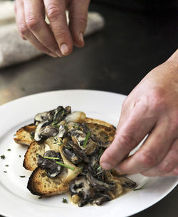 Oceano's cream of mushroom on toast.