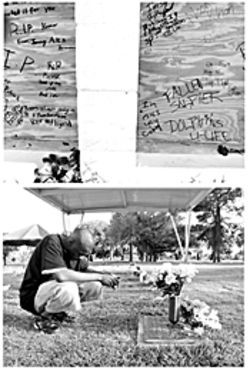 Top: Boarded-up windows at Shanghai Garden covered with goodbyes to Kemar    Bottom: Alex Francois visits Kemar's grave to honor his 18th birthday.