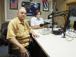Jorge Rodríguez and his son, Jorge Jr., operate La Poderosa, the last independently owned Cuban-American radio station in Miami.