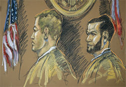 Two men, Kirby Archer and Guillermo Zarabozo (right, in a federal courtroom sketch three days after they were fished from a life raft), have been charged with murdering the Joe Cool&#039;s four crew members.