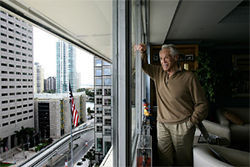 Hollo enjoys a view of Bayfront Park from his office.