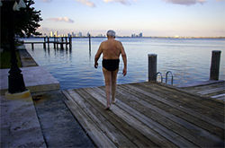 For 55 years, Hollo has begun his day with a swim in Biscayne Bay.