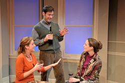 From left: Erin Joy Schmidt, Jim Ballard, and Sarah Grace Wilson drink over a failed marriage.