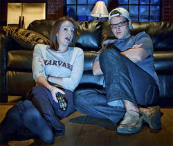 A scene of awkward conversation between Kelly and Craig.