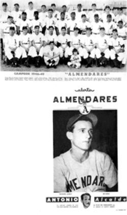 A star is born: Vicente Lopez (front row, seated, fifth from left) as a rookie with Almendares; later, as a poster boy for Antonio Prío's Havana mayoral campaign