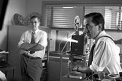 Clooney as producer Fred Friendly and Strathairn as Murrow