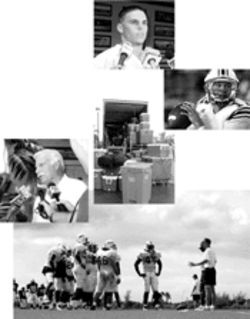 Howard Schnellenberger, far left, attracts more media scrutiny than most coaches of second-tier football programs. Lee Pasick, top, handles his second-ever interview. Quarterback Jared Allen, top right, was the team's only out-of-state player last year. The Owls practice, bottom, before managers load equipment  bins, center, into a rental truck for the game versus Eastern Kentucky.
