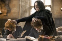 Professor Snape (Alan Rickman) keeps noses to the grindstone, and Weasley (Rupert Grint) and Harry (Daniel Radcliffe) comply.
