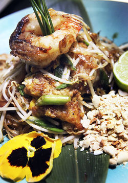 Tokyo Blue&#039;s take on pad Thai with jumbo shrimp.