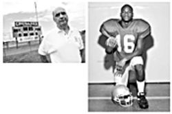 Above: Coach Budnyk is himself something of a football legend in Palm Beach County. As athletic director of Cardinal Newman High School, he just acquired his 275th career win.     Right: His senior year, Abram was named Palm Beach County Player of the Year.