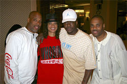 Dee with Ecstasy of Whodini (left) and Bobby Brown and his girlfriend.