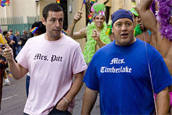 Sandler and James manage not to wink. Biel (below, with Sandler) has guts more than comedic skill.