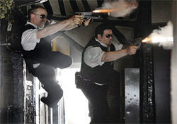 Two cops, four guns, zero wounded: Simon Pegg and Nick Frost in Hot Fuzz