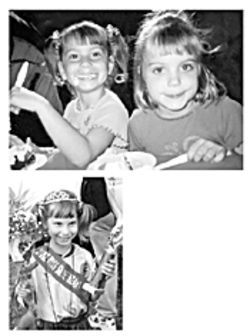 Above: Roberts took this photograph of Kylee (left) and Krueger's daughter, Kelsie, at a birthday party in January 2001. Left: Kylee celebrates on the soccer field in her princess crown and sash.