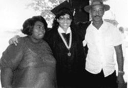 Geri's future in-laws, Mary and Isaac Clark, already like  family, attend her high school graduation, 1985