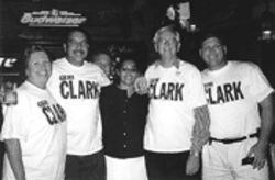 Clark's campaign workers celebrate victory at the Oar  House