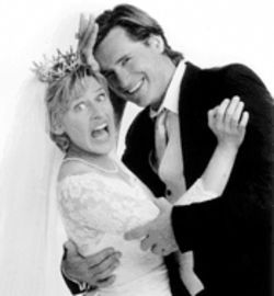 "Ellen DeGeneres, pictured here with Bill Pullman from Mr. Wrong, likens herself to a table painted ""a horrible, ugly color that offended everyone."""