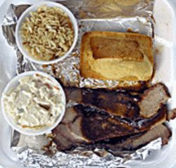A saucy brisket, corn bread, potato salad, and rice equals electoral votes.