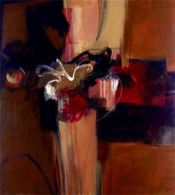 Miller's spontaneous brushwork is reminiscent of the technique of Francis Bacon.