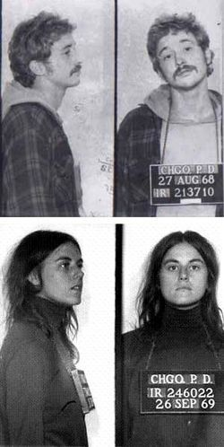 Bill Ayers and wife Bernadine Dohrn proudly hang their mugshots in their Chicago home.