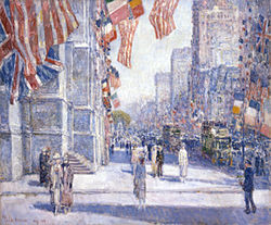 Childe Hassam's Early Morning on the Avenue