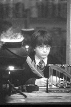 Harry Potter (Daniel Radcliffe) hits the books at Hogwarts; only a cynic could turn down the chance to join him