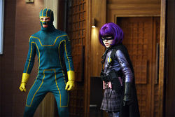Kick-Ass (Aaron Johnson) and Hit Girl (Chloë Grace Moretz)