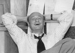 Ed Koch in the office of his campaign manager, David Garth, in September 1977.
