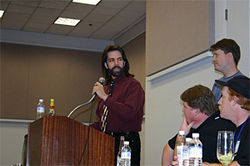 Billy Mitchell and Steve Wiebe share the stage at the Classic Gaming Expo in San Jose.