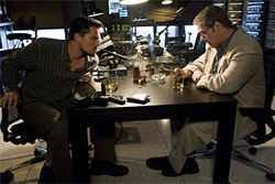 DiCaprio and Crowe: The boss calls the shots from a cell phone.
