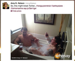 Morrison and roommate Bryan Petersen share a glass of wine and a small tub.
