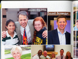 From the 2011 Pine Crest yearbook: Hank Battle poses with students; his associate David Bowman came with him to serve as Pine Crest&#039;s vice president of operations.