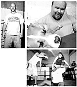 Wrestling school owner and trainer Flex Magnum (above left) teaches the mighty to fall with panache. Veteran wrestler Rusty Brooks growls at wrestling students but coos to his dog Sadie. The nasty moves of a tag-team match.