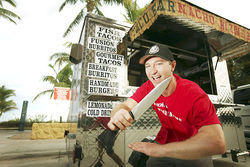 Aaron Byers is owner of Nacho Bizness, a mobile taco bar. Here, he shows us his blade by the beach.