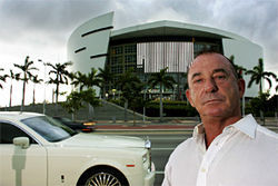 Baron Richard von Houtman poses in front of American Airlines Arena, workplace of ex-partner and nemesis Dwyane Wade.