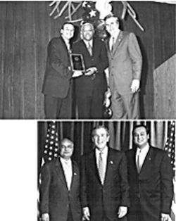 Above, Gov. Jeb Bush and state diversity director Windell Paige hand a happy Akhil Agrawal the 2002 Minority Vendor of the Year award. At right, Akhil Agrawal and his father, Piyush, pose with President Bush during a Fort Lauderdale fundraiser at Pier 66.