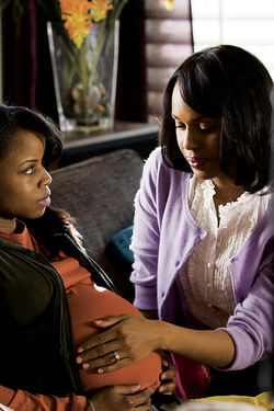 Baker Lucy (Kerry Washington, right) checks on one in the oven.