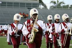 The band mixes classic marching music with students' hip-hop requests.