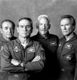 The geriatric stuff (left to right): Garner, Jones, Sutherland, and Eastwood act their ages