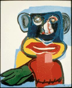 Karel Appel&#039;s Personality I combines African and cartoon elements in primary colors