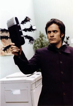 Gael García Bernal plays a Chaplinesque madman.