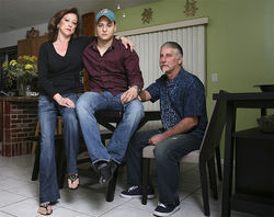 Gina and Randy Brin, with Gina's son Daniel. The Brins have filed a dozen Internal Affairs complaints against North Lauderdale police.