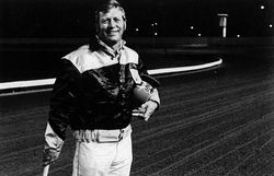 Mickey Mantle pictured at the track.
