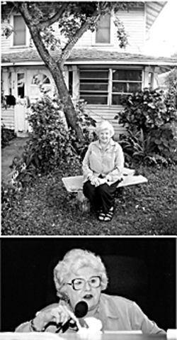 Carol Ann Loehndorf, at home (top) and heading a Democratic meeting (above), has lived in a two-block radius her entire life.