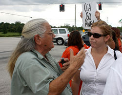Marygay Chaples (left), a longtime resident, has supported the detention center plans for years.