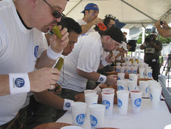 Competitors take several different approaches to the pickle.