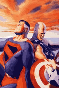 The two sides of Alex Ross: Kingdom Come&#039;s Superman and Earth X&#039;s Captain America, painted for Wizard magazine