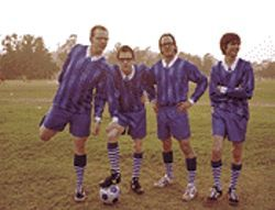 Team Weezer: Pat Wilson (left), Rivers Cuomo, Scott Shriner, and Brian Bell